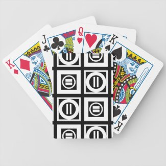 White on Black Geometric Equal Sign Pattern Bicycle Playing Cards