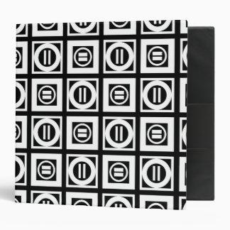 White on Black Geometric Equal Sign Pattern Binder