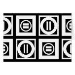 White on Black Geometric Equal Sign Pattern Card