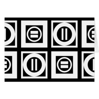 White on Black Geometric Equal Sign Pattern Card