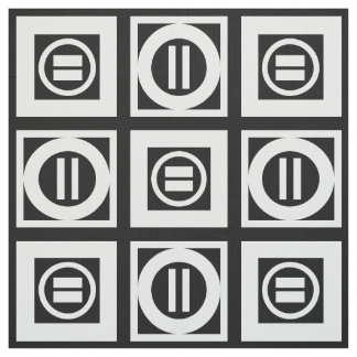 White on Black Geometric Equal Sign Pattern Fabric