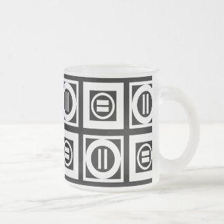 White on Black Geometric Equal Sign Pattern Frosted Glass Coffee Mug
