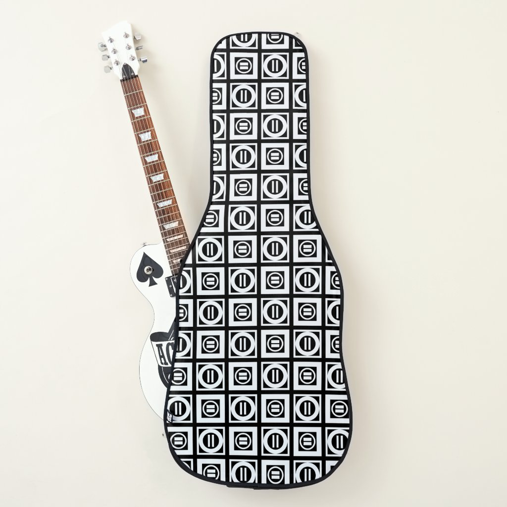 White on Black Geometric Equal Sign Pattern Guitar Case