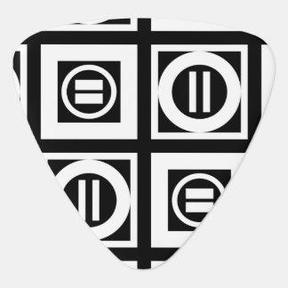 White on Black Geometric Equal Sign Pattern Guitar Pick