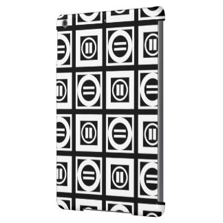 White on Black Geometric Equal Sign Pattern iPad Air Covers
