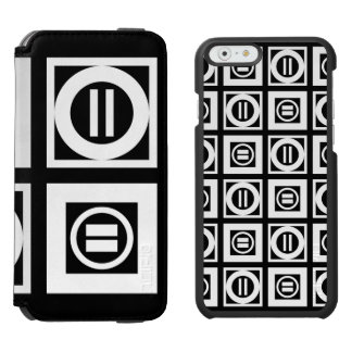 White on Black Geometric Equal Sign Pattern iPhone 6/6s Wallet Case