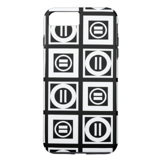 White on Black Geometric Equal Sign Pattern iPhone 7 Plus Case