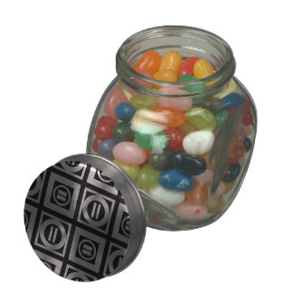 White on Black Geometric Equal Sign Pattern Jelly Belly Candy Jars