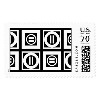 White on Black Geometric Equal Sign Pattern –Large Postage