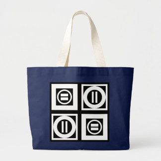 White on Black Geometric Equal Sign Pattern Large Tote Bag