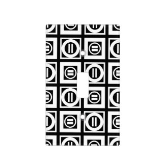 White on Black Geometric Equal Sign Pattern Light Switch Cover