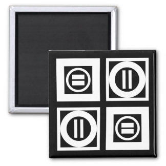 White on Black Geometric Equal Sign Pattern Magnet