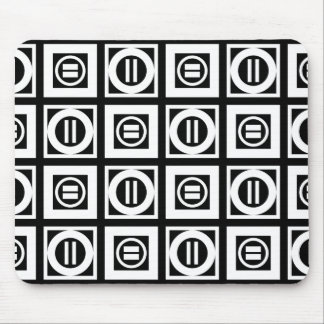 White on Black Geometric Equal Sign Pattern Mouse Pad
