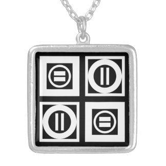 White on Black Geometric Equal Sign Pattern Square Pendant Necklace