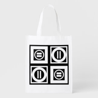 White on Black Geometric Equal Sign Pattern Reusable Grocery Bag