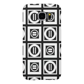 White on Black Geometric Equal Sign Pattern Samsung Galaxy S6 Case