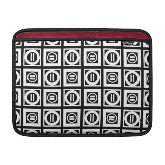 White on Black Geometric Equal Sign Pattern Sleeve For MacBook Air