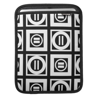 White on Black Geometric Equal Sign Pattern Sleeves For iPads