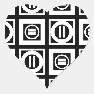 White on Black Geometric Equal Sign Pattern Heart Sticker