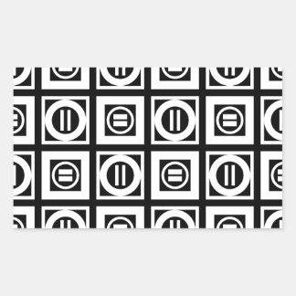 White on Black Geometric Equal Sign Pattern Rectangular Sticker