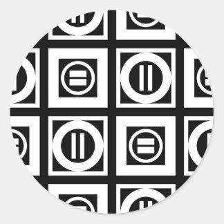 White on Black Geometric Equal Sign Pattern Classic Round Sticker