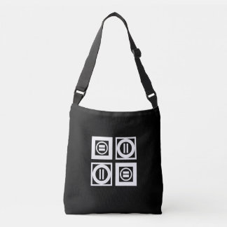 White on Black Geometric Equal Sign Pattern Tote