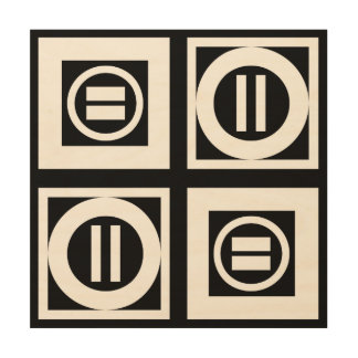 White on Black Geometric Equal Sign Pattern Wood Wall Art