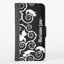 White on Black Gothic Ravens and Thorns Baroque iPhone X Wallet Case