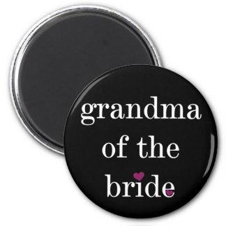 White on Black Grandma of the Bride Magnet