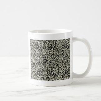 White on black kaleidoscope print coffee mug