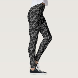 White on Black Lily-of-the-Valley Floral Outline Leggings