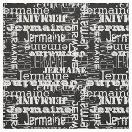 White on Black Modern Name Collage Decor Fabric