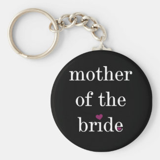 White on Black Mother of the Bride Keychain