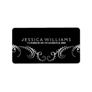 White On Black Ornate Floral Frame Label