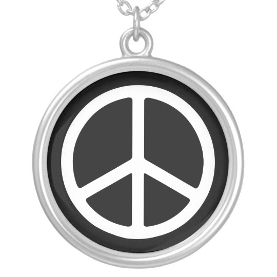 White on Black Peace Sign Necklace