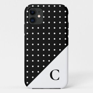 White on Black Polka Dot Pattern Monogram Case-Mate iPhone Case