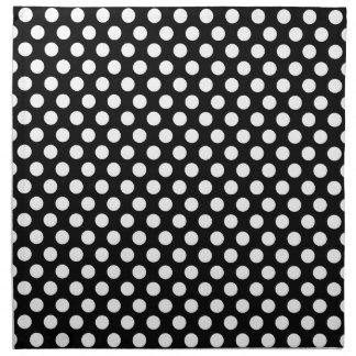 White on Black Polka Dot Pattern Napkin