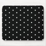 White on Black Polka Dots Mouse Pad