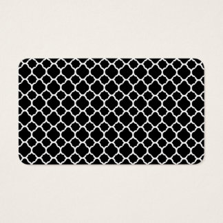 White on Black Quatrefoil Business Card