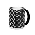 White on Black Quatrefoil Ringer Coffee Mug