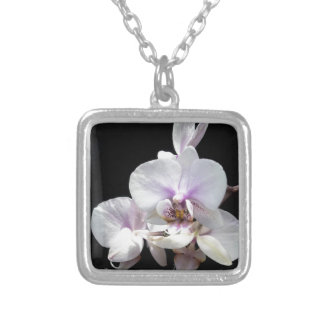 White on Black Silver Plated Necklace