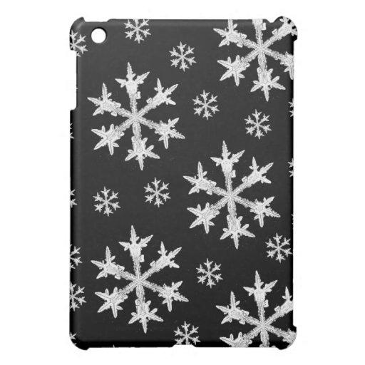 White on Black Snowflake Design Case For The iPad Mini