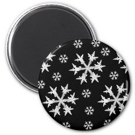 White on Black Snowflake Design 2 Inch Round Magnet