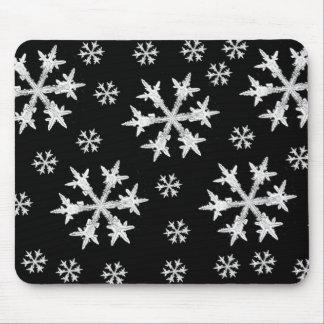 White on Black Snowflake Design Mouse Pad