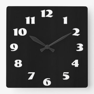 White On Black Square Wall Clock