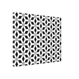 White on Black Tiled Hex Canvas