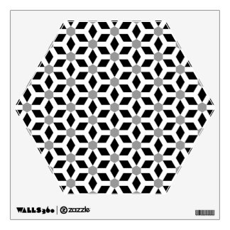 White on Black Tiled Hex Wall Decal