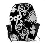 White on Black Tulip Damask Courier Bags