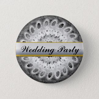 White on Black Vintage Lacy Wedding Party Button 5