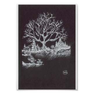 White on Black Winter Landscape Drawing Poster